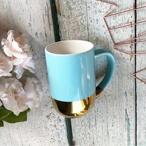 Davids Tea gold dip blue Nordic mug cup ceramic